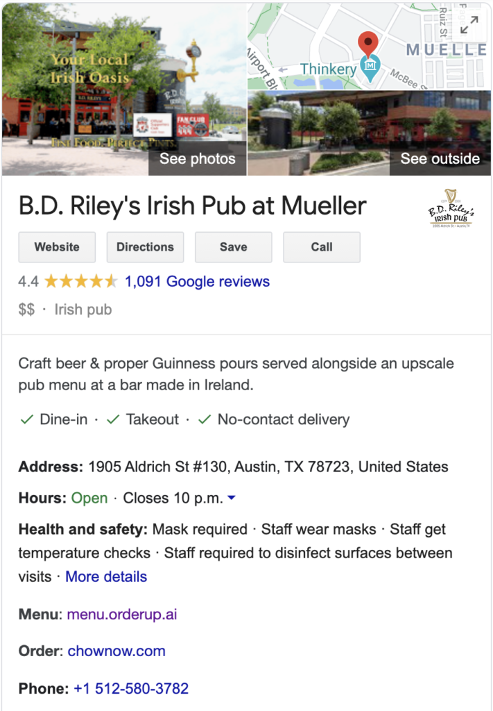 image of BD rileys google my business search results showing hours of operation, number of stars and a link to their orderup digital menu