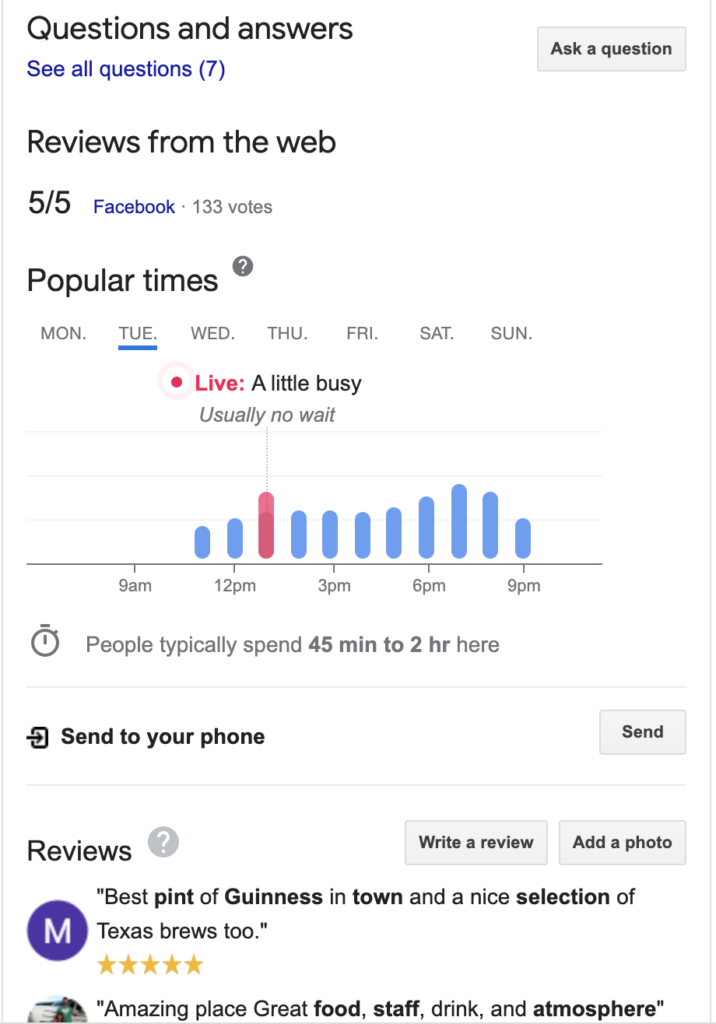 screenshot of google my business showing popular times and for a restaurant
