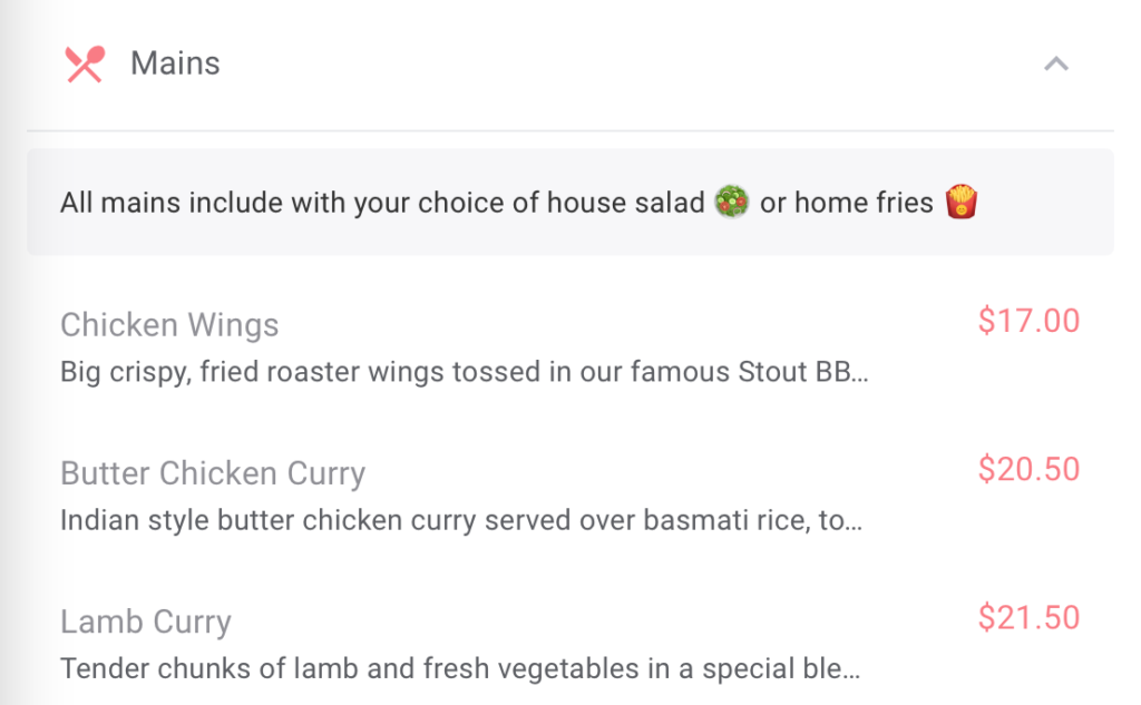 Example of a descriptive menu header that a guest would see when they are using an OrderUp Digital QR code menu