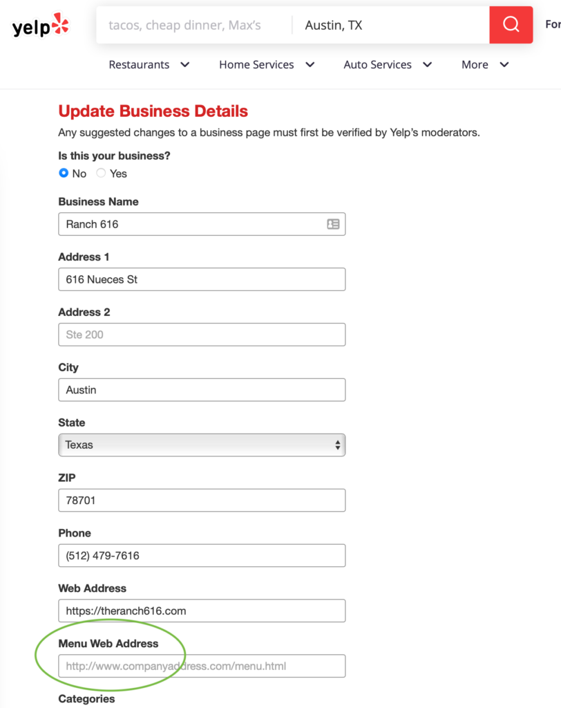 Edit business in Yelp with Menu URL circled to show restaurant operators where to put the link