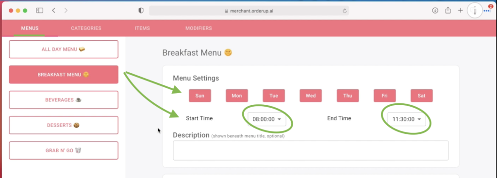 Green arrows showing which menu can be offered at which times, and how to toggle between them for different digital menus