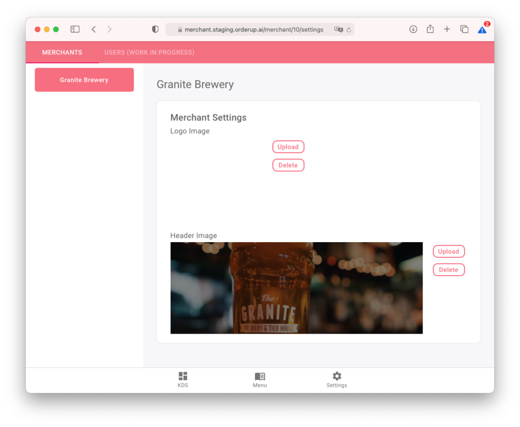 in the settings page of orderup's menu builder applications, you can update the banner image or restaurant logo