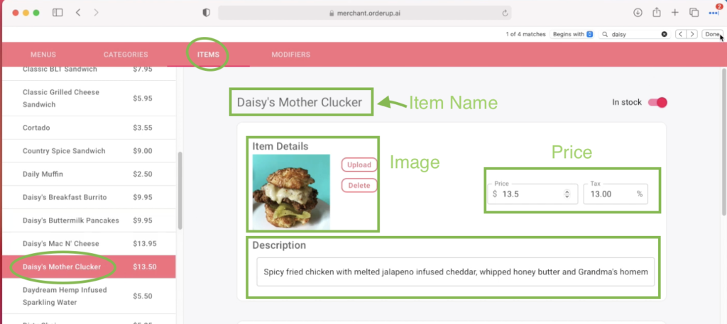 visual showing where to edit item details in the orderup menu builder