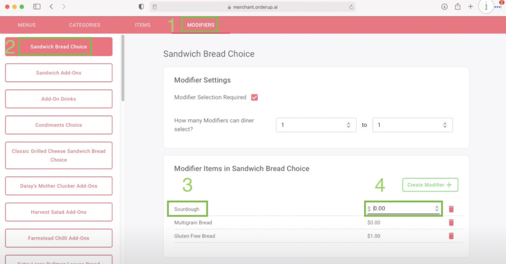 change the name or price of an item modifier on the menu builder