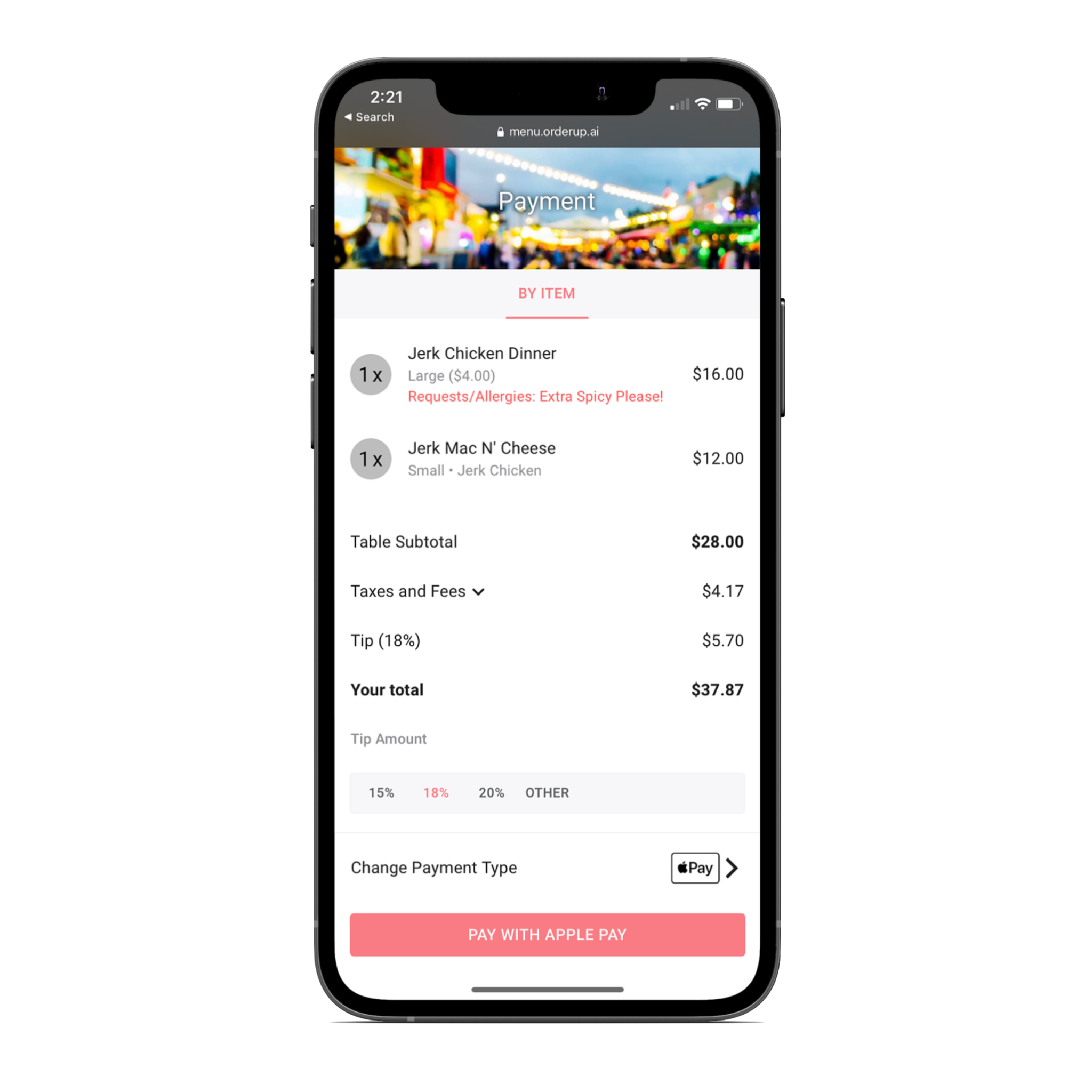 Payment screen on a mobile friendly digital menu for food trucks
