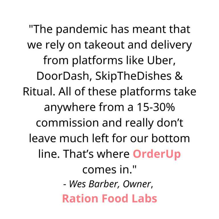 """""""The pandemic has meant that we rely on takeout and delivery from platforms like Uber, DoorDash, SkipTheDishes & Ritual. All of these platforms take anywhere from a 15-30% commission and really don't leave much left for our bottom line. That's where OrderUp comes in. OrderUp features QR Codes on our doors and windows, and links on our website and social media, that amalgamate our 3 menus: bottle shop and cafe, and charges no fees"""